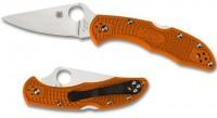 Складной нож Spyderco Delica 4, Flat Ground, VG10 Satin Plain Blade, Orange FRN Handles - Интернет магазин Японских кухонных туристических ножей Vip Horeca