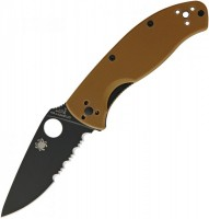 Складной нож Spyderco Tenacious, Brown G10 Handle, Black Blade, Part Serrated - Интернет магазин Японских кухонных туристических ножей Vip Horeca