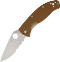 Складной нож Spyderco Tenacious, Brown G10 Handle, Part Serrated - Интернет магазин Японских кухонных туристических ножей Vip Horeca