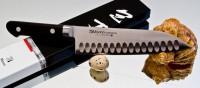 Кухонный нож Misono Molibden Steel с проточкой Santoku 180mm - Интернет магазин Японских кухонных туристических ножей Vip Horeca