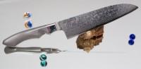 Поварской нож Sanetu ZDP-189 Damascus Santoku 180mm - Интернет магазин Японских кухонных туристических ножей Vip Horeca