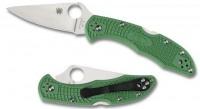Складной нож Spyderco Delica 4, Flat Ground, VG10 Satin Plain Blade, Green FRN Handles - Интернет магазин Японских кухонных туристических ножей Vip Horeca