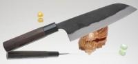 Кухонный нож Kajibee Aogami Damaskus Kurouchi Santoku 165mm - Интернет магазин Японских кухонных туристических ножей Vip Horeca