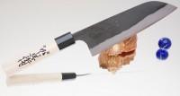 Кухонный нож Kajibee Shirogami Kurouchi Santoku 165mm - Интернет магазин Японских кухонных туристических ножей Vip Horeca