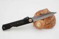 Нож складной Nagao Higonokami, Bamboo leaf, Shirogami (White Steel), Black, 80mm - Интернет магазин Японских кухонных туристических ножей Vip Horeca