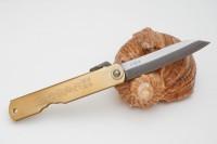 Нож складной Nagao Higonokami, Bamboo leaf, Shirogami (White Steel), Brass, 80mm - Интернет магазин Японских кухонных туристических ножей Vip Horeca