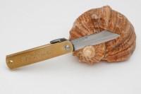Нож складной Nagao Higonokami, Warikomi, Aogami (Blue Sleel), Brass, 50mm - Интернет магазин Японских кухонных туристических ножей Vip Horeca