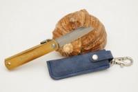 Нож складной Nagao Higonokami, Warikomi, Aogami (Blue Sleel), Brass, 50mm (Синий чехол) - Интернет магазин Японских кухонных туристических ножей Vip Horeca