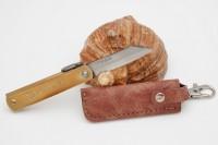 Нож складной Nagao Higonokami, Warikomi, Aogami (Blue Sleel), Brass, 50mm (Коричневый чехол) - Интернет магазин Японских кухонных туристических ножей Vip Horeca