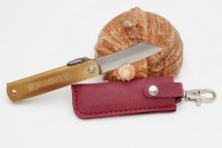 Нож складной Nagao Higonokami, Warikomi, Aogami (Blue Sleel), Brass, 50mm (Красный чехол) - Интернет магазин Японских кухонных туристических ножей Vip Horeca