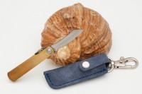 Нож складной Nagao Higonokami, Mame Miniature, SK5 steel, Brass, 40mm (Синий чехол) - Интернет магазин Японских кухонных туристических ножей Vip Horeca