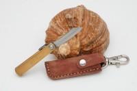 Нож складной Nagao Higonokami, Mame Miniature, SK5 steel, Brass, 40mm (Коричневый чехол) - Интернет магазин Японских кухонных туристических ножей Vip Horeca
