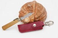 Нож складной Nagao Higonokami, Mame Miniature, SK5 steel, Brass, 40mm (Красный чехол) - Интернет магазин Японских кухонных туристических ножей Vip Horeca