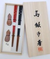 Набор 2 пары, деревянные- японские палочки (хаси) и подставки (хасиоки), подарочная деревянная коробка - Интернет магазин Японских кухонных туристических ножей Vip Horeca