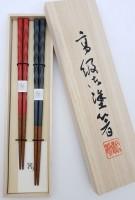 Набор 2 пары, деревянные резные японские палочки (хаси), подарочная деревянная коробка - Интернет магазин Японских кухонных туристических ножей Vip Horeca