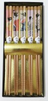 Набор японских палочек (хаси), 5 шт., японские женщины, подарочная картонная коробка - Интернет магазин Японских кухонных туристических ножей Vip Horeca