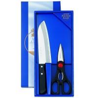Набор Shimomura (кухонный нож: Santoku 170mm и кухонные ножницы 70mm - Интернет магазин Японских кухонных туристических ножей Vip Horeca